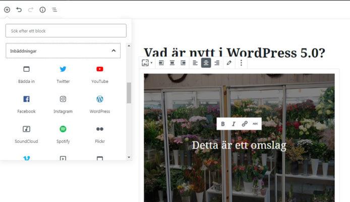 wordpress 5 bädda in nytt innehåll