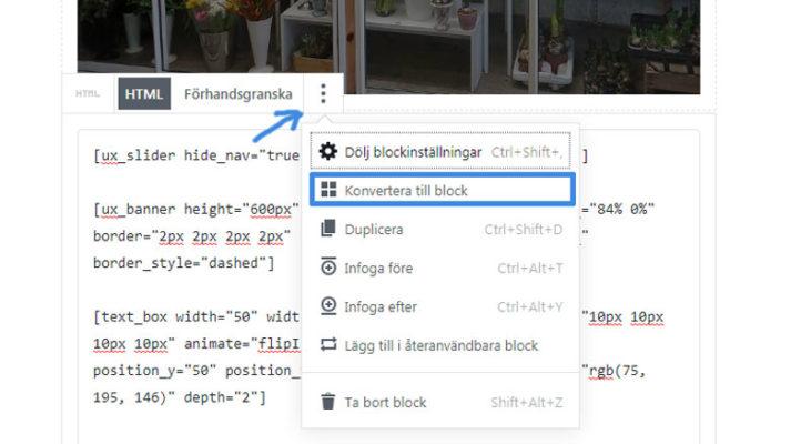 WordPress 5.0 konvertera till block synasmera
