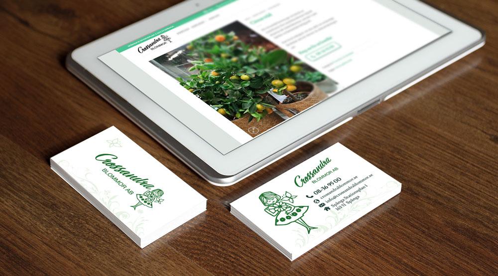 Tryck av visitkort och design av hemsida
