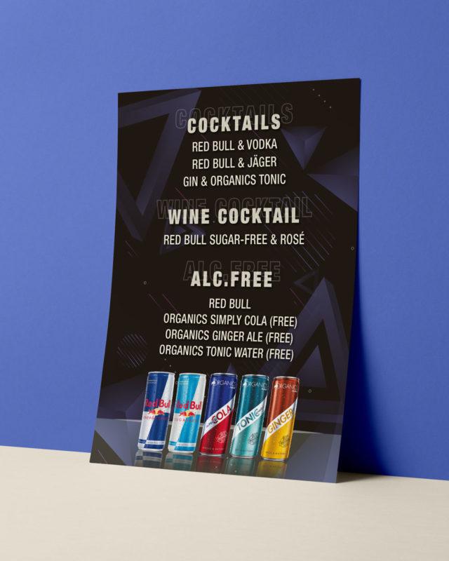 Grafisk formgivning meny Red Bull