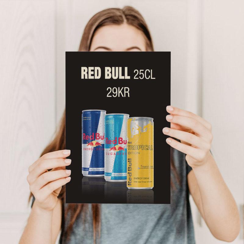 barpratare meny affischer tryck och design Red Bull